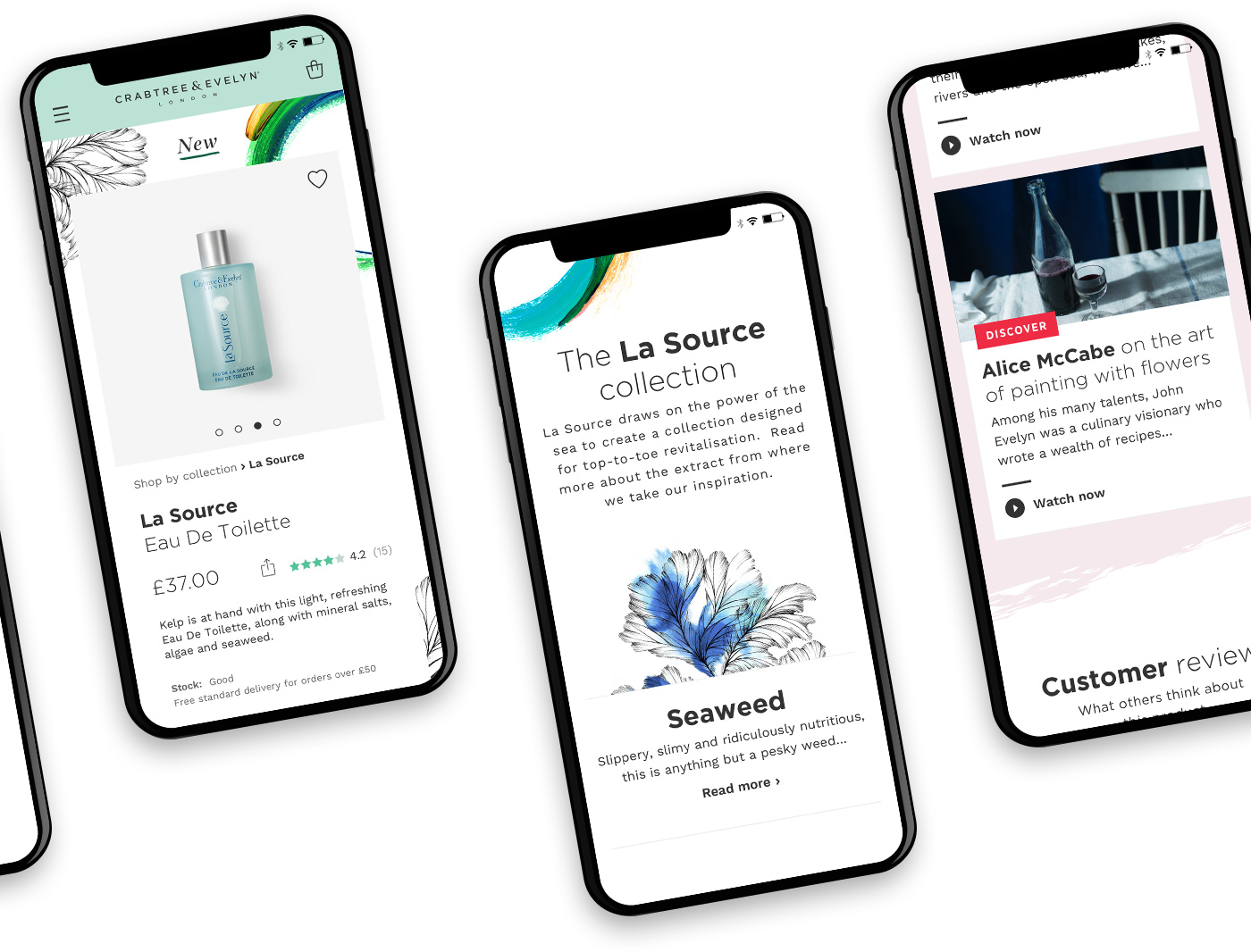 Snippet of the mobile designs
