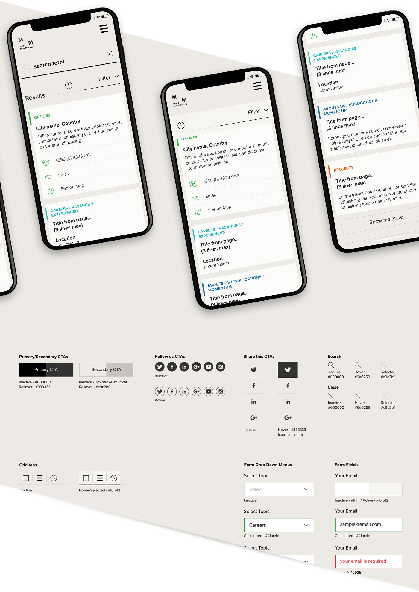 Mobile designs and design system