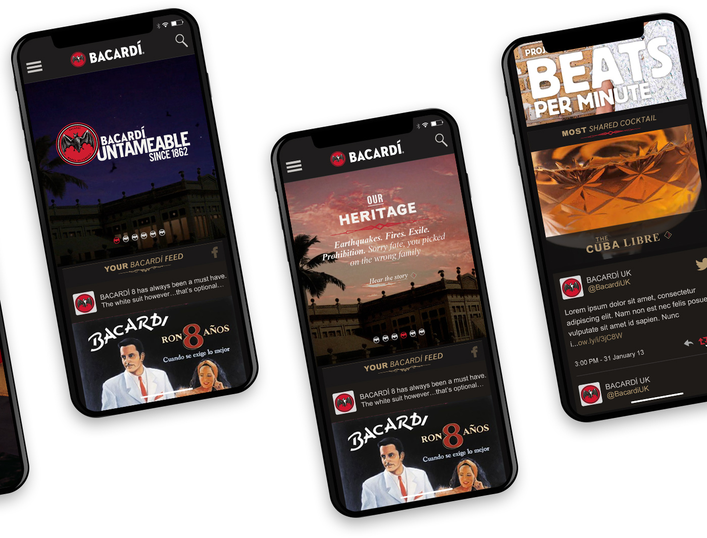 Mobile screens showing the homepage designs