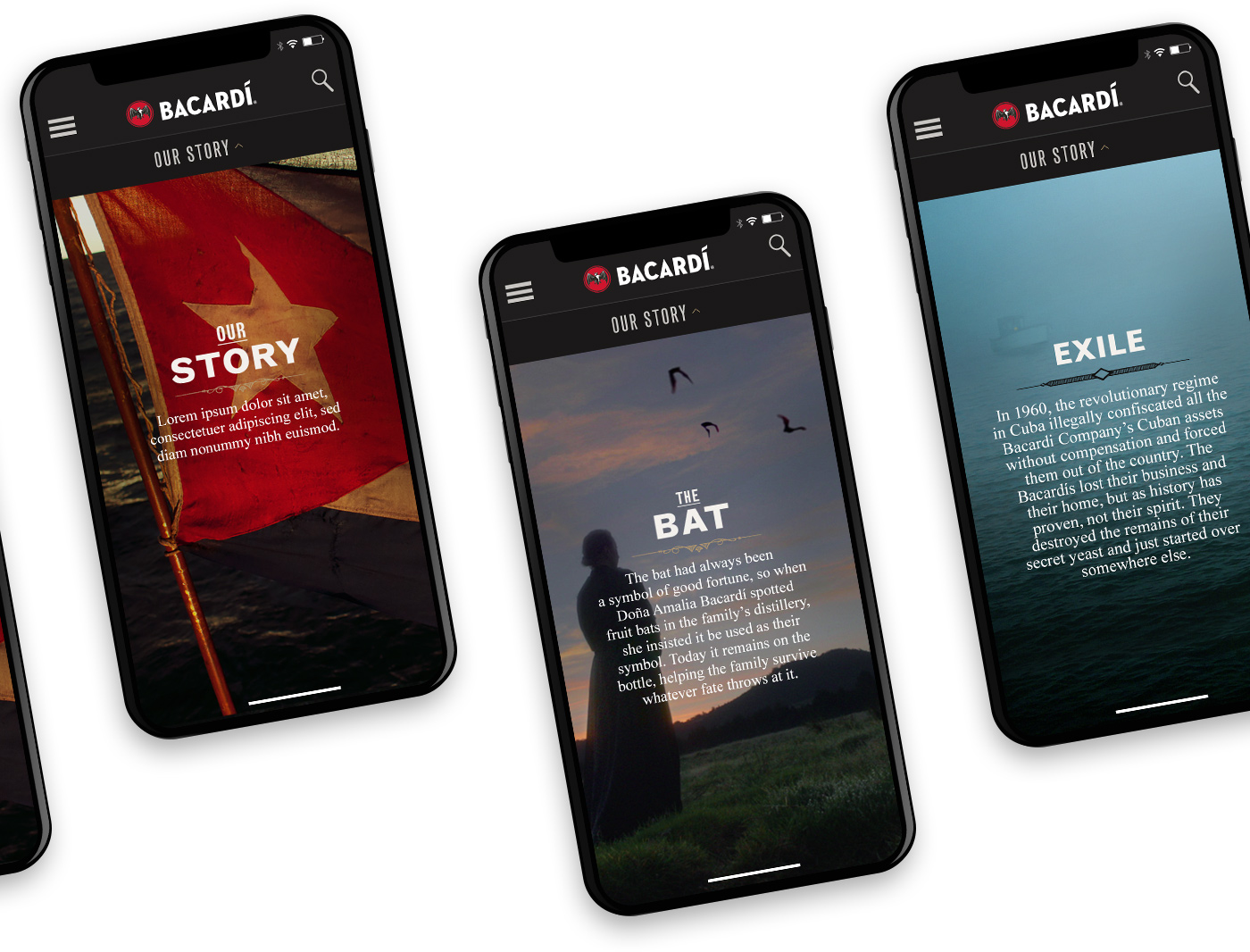 Mobile screens showing the Bacardi Craft designs