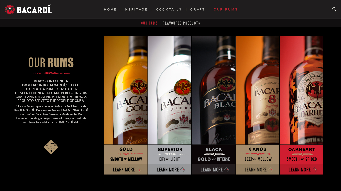 Desktop screens showing the Bacardi products