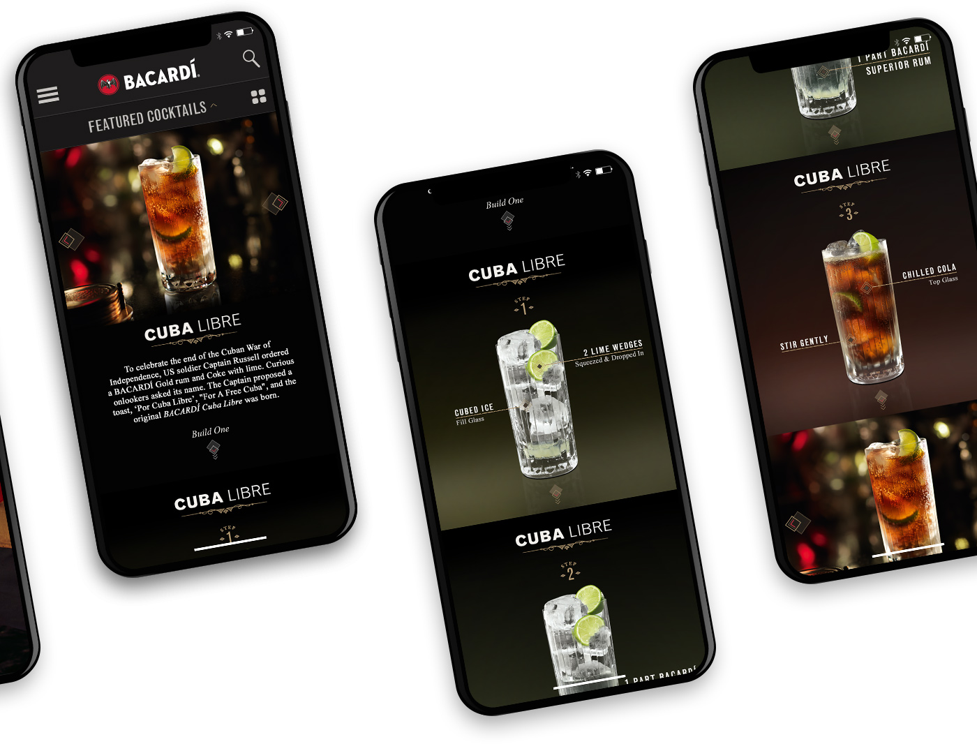Mobile screens showing a cocktail recipe and how to make tutorial